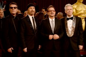 Musicians Larry Mullen Jr The Edge Bono and Adam Clayton of U2 attend the Oscars held at Hollywood Highland Center on March 2 2014 in Hollywood...