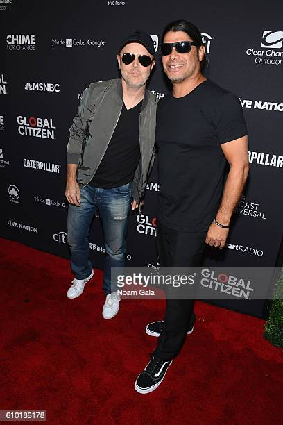 Musicians Lars Ulrich and Robert Trujillo attend the 2016 Global Citizen Festival In Central Park To End Extreme Poverty By 2030 at Central Park on...