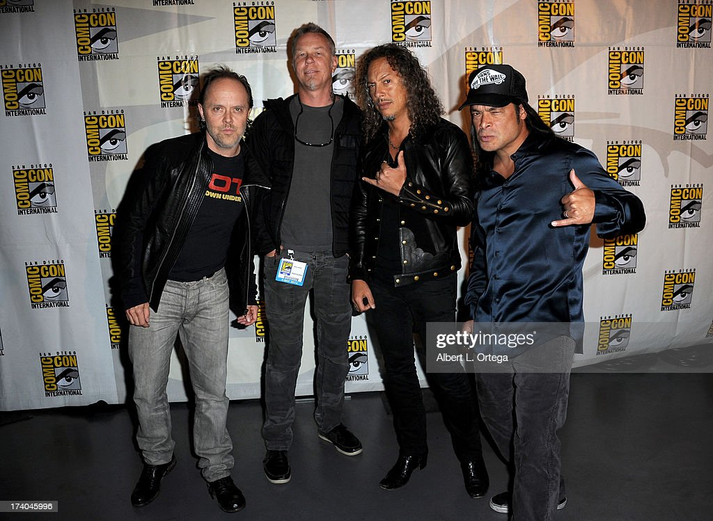 Musicians <a gi-track='captionPersonalityLinkClicked' href=/galleries/search?phrase=Lars+Ulrich&family=editorial&specificpeople=209281 ng-click='$event.stopPropagation()'>Lars Ulrich</a>, <a gi-track='captionPersonalityLinkClicked' href=/galleries/search?phrase=James+Hetfield&family=editorial&specificpeople=178297 ng-click='$event.stopPropagation()'>James Hetfield</a>, <a gi-track='captionPersonalityLinkClicked' href=/galleries/search?phrase=Kirk+Hammett&family=editorial&specificpeople=204665 ng-click='$event.stopPropagation()'>Kirk Hammett</a> and <a gi-track='captionPersonalityLinkClicked' href=/galleries/search?phrase=Robert+Trujillo&family=editorial&specificpeople=213071 ng-click='$event.stopPropagation()'>Robert Trujillo</a> appear at 'At The Drive-In With Metallica' during Comic-Con International 2013 at San Diego Convention Center on July 19, 2013 in San Diego, California.