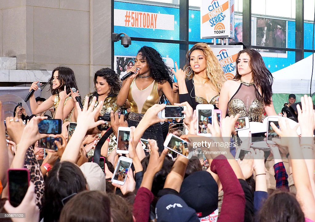 Musicians Lauren Jauregui, Ally Brooke, Normani Hamilton, Dinah-Jane Hansen and <a gi-track='captionPersonalityLinkClicked' href=/galleries/search?phrase=Camila+Cabello&family=editorial&specificpeople=9951839 ng-click='$event.stopPropagation()'>Camila Cabello</a> of band Fifth Harmony Perform On NBC's 'Today' at Rockefeller Plaza on May 30, 2016 in New York City.