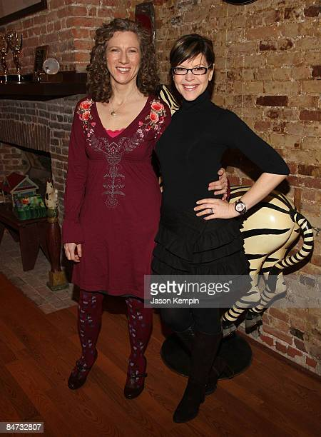 Musicians Laurie Berkner and Lisa Loeb attend the Kidscreen Summit cocktail reception at Little Airplane Productions on February 10 2009 in New York...