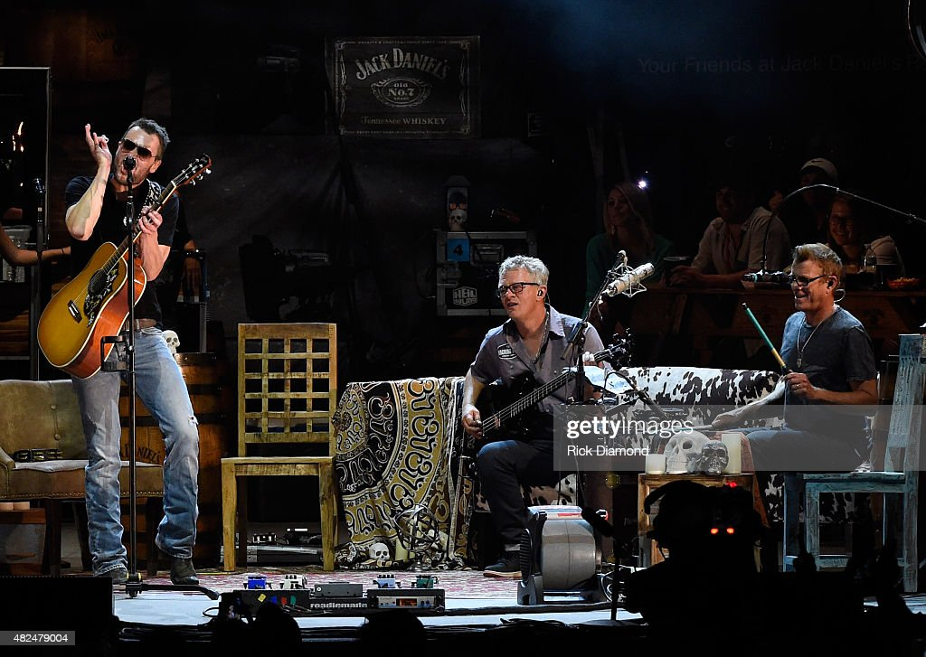 Musicians Lee Hendricks and Craig Wright join Singer/Songwriter Eric Church (left) for the opening of the new Ascend Amphitheater with the first of two sold out solo shows on July 30, 2015 in Nashville, Tennessee.