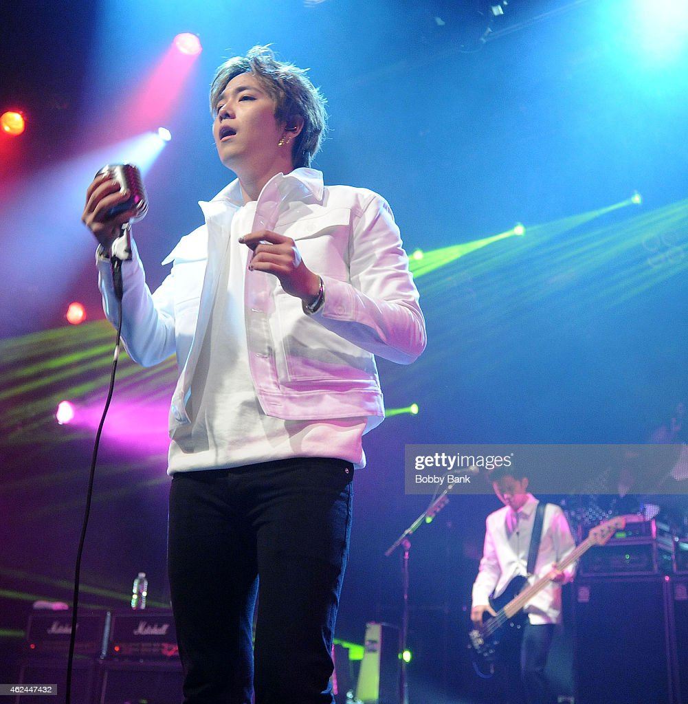 Musicians Lee Honggi and Lee Jaejin of the South Korean pop rock band FT Island performs at Best Buy Theater on January 28 2015 in New York City
