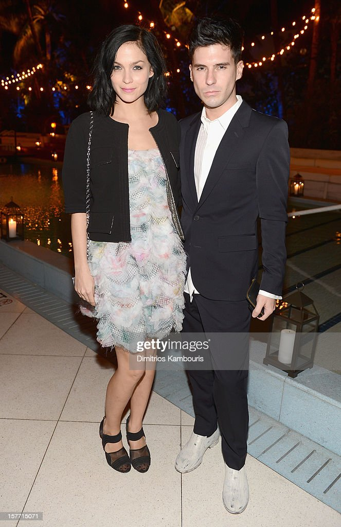 Musicians Leigh Lezark (L) and Greg Krelenstein of The Misshapes attend a dinner and auction hosted by CHANEL to benefit the Henry Street Settlement at Soho Beach House on December 5, 2012 in Miami Beach, Florida.