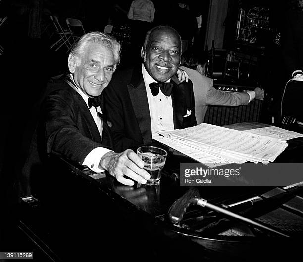 Musicians Leonard Bernstein and Count Basie attend Kennedy Center Honors Gala on December 7 1980 at the White House in Washington DC