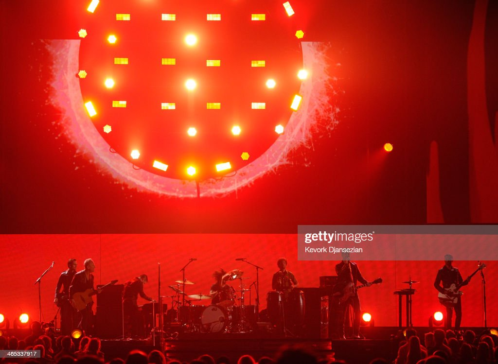 Musicians Lindsey Buckingham, Trent Reznor, Dave Grohl, Jon Theodore, Josh Homme and Troy Van Leeuwen perform onstage during the 56th GRAMMY Awards at Staples Center on January 26, 2014 in Los Angeles, California.