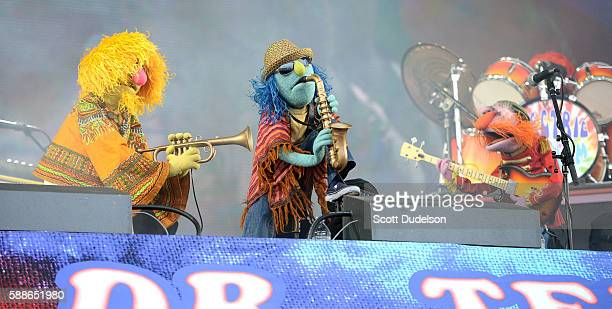 Musicians Lips Zoot and Floyd Pepper of the Muppets perform onstage with Dr Teeth and the Electric Mayhem at Golden Gate Park on August 7 2016 in San...