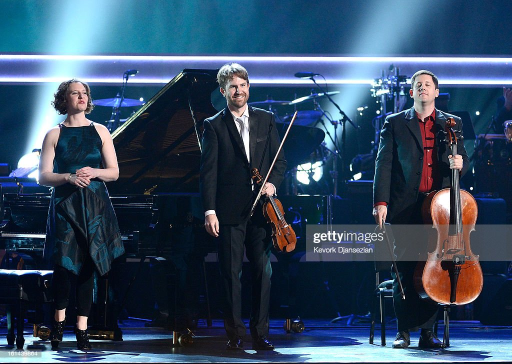 Musicians Lisa Kaplan, Michael J. Maccaferri and Nicholas Photinos of Eighth Blackbird onstage at the The 55th Annual GRAMMY Awards at Staples Center on February 10, 2013 in Los Angeles, California.