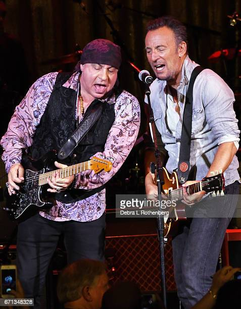 Musicians Little Steven and Bruce Springsteen perform during The Upstage Jam With The Upstage Allstars with a Special Appearance by Southside Johnny...