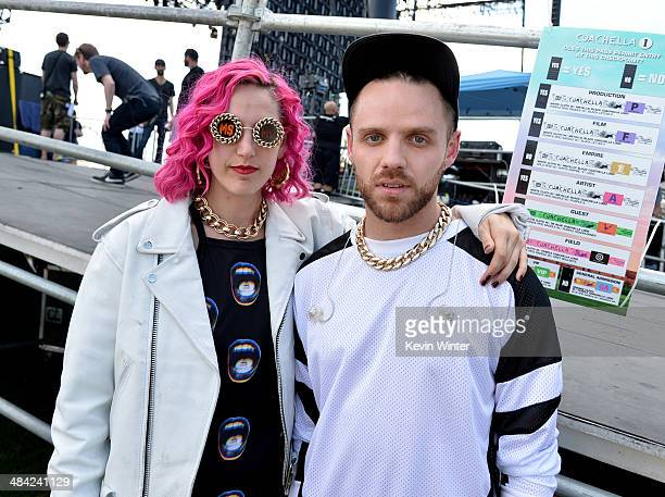 Musicians Lizzy Plapinger and Max Hershenow of MS MR seen during day 1 of the 2014 Coachella Valley Music Arts Festival at the Empire Polo Club on...