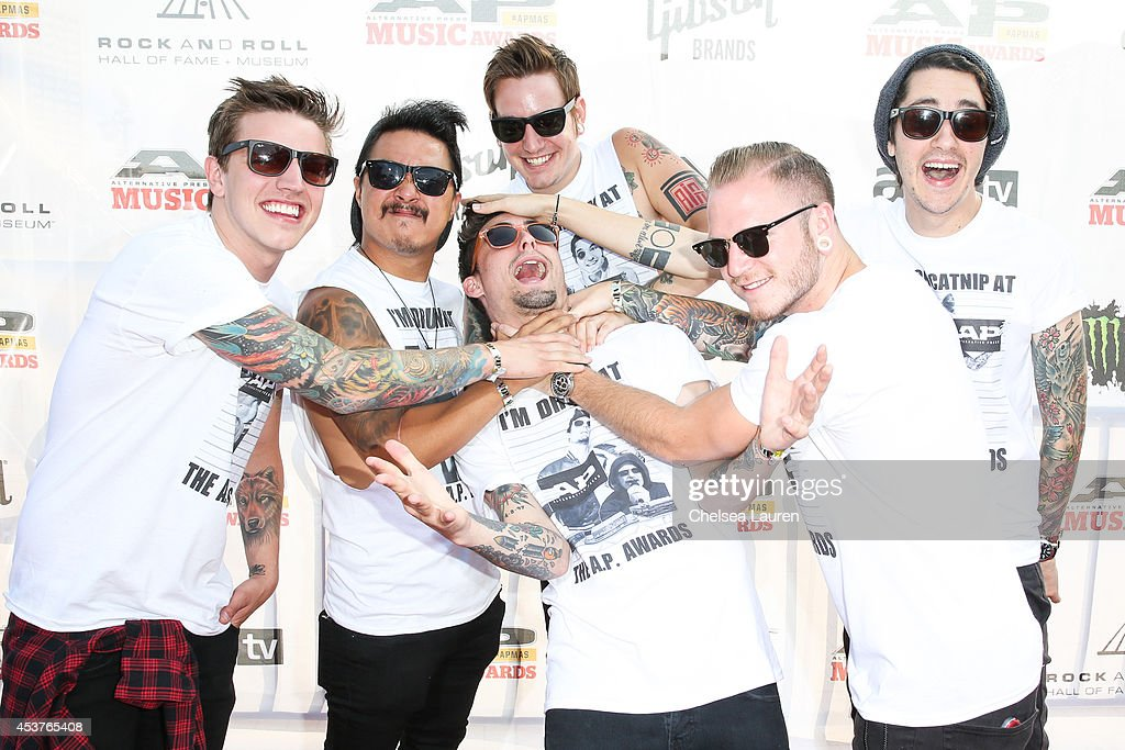 Musicians Lou Cotton, Eric Choi, Kyle Pavone, Andy Glass, Dave Stephens and Joshua Moore of We Came As Romans attend the 2014 Gibson Brands AP Music Awards at the Rock and Roll Hall of Fame and Museum on July 21, 2014 in Cleveland, Ohio.