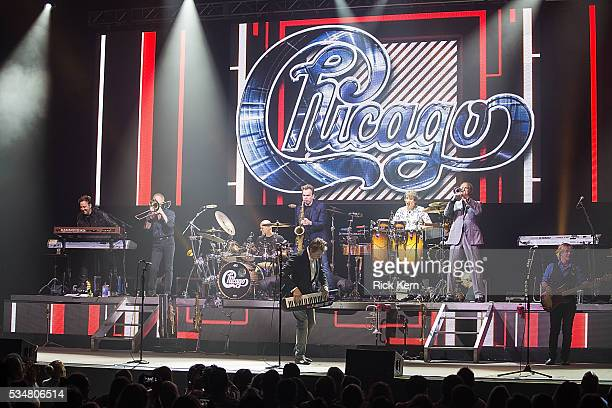 Musicians Lou PardiniJames PankowTris Imboden Walter Parazaider Robert Lamm Walfredo Reyes Jr Lee Loughnane and Jason Scheff of Chicago perform in...