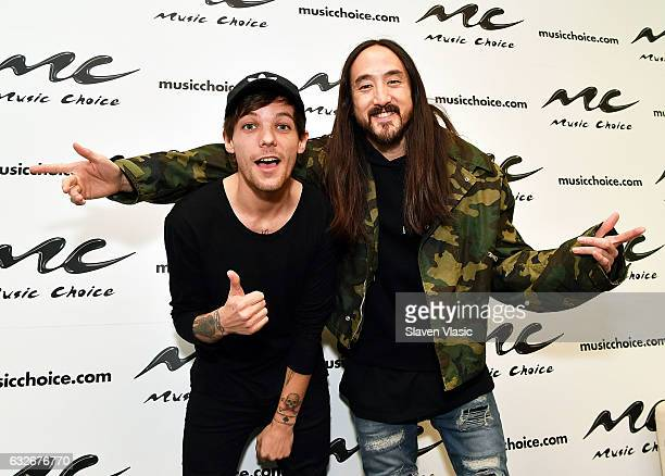 Musicians Louis Tomlinson and Steve Aoki visit Music Choice on January 25 2017 in New York City