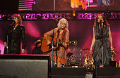 Musicians Lucinda Williams Emmylou Harris and Patty Griffin perform onstage at the 2010 MusiCares Person Of The Year Tribute To Neil Young at the Los...