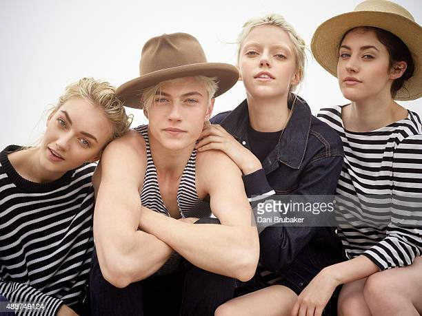 Musicians Lucky Blue Smith Pyper America Daisy Clementine and Starlie Cheyenne are photographed for Trendi Magazine on May 30 2015 in El Segundo...