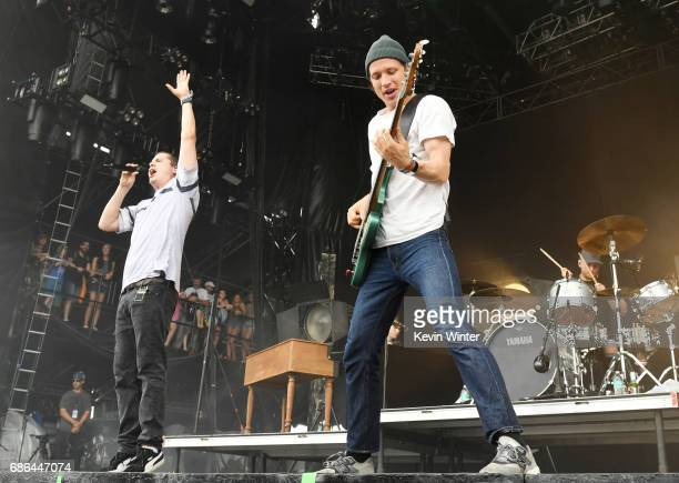 Musicians Lukas Forchhammer and Magnus Larsson of Lukas Graham perform at the Hangout Stage during 2017 Hangout Music Festival on May 21 2017 in Gulf...