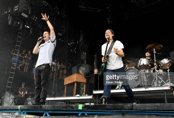 Musicians Lukas Forchhammer Magnus Larsson and Mark Falgren of Lukas Graham perform at the Hangout Stage during 2017 Hangout Music Festival on May 21...