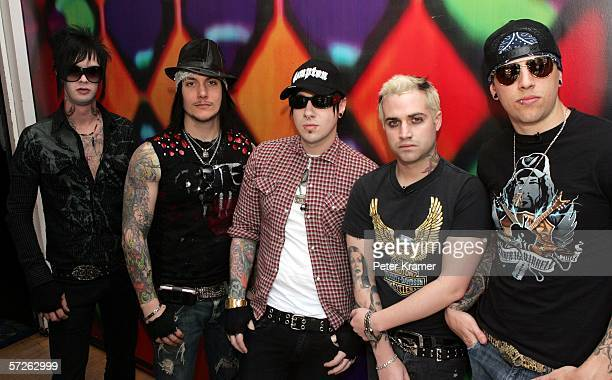 Musicians M Shadows Johnny Christ Zacky Vengeance and Synyster Gates of the group 'Avenged Sevenfold' make an appearance at MTV studios for a taping...