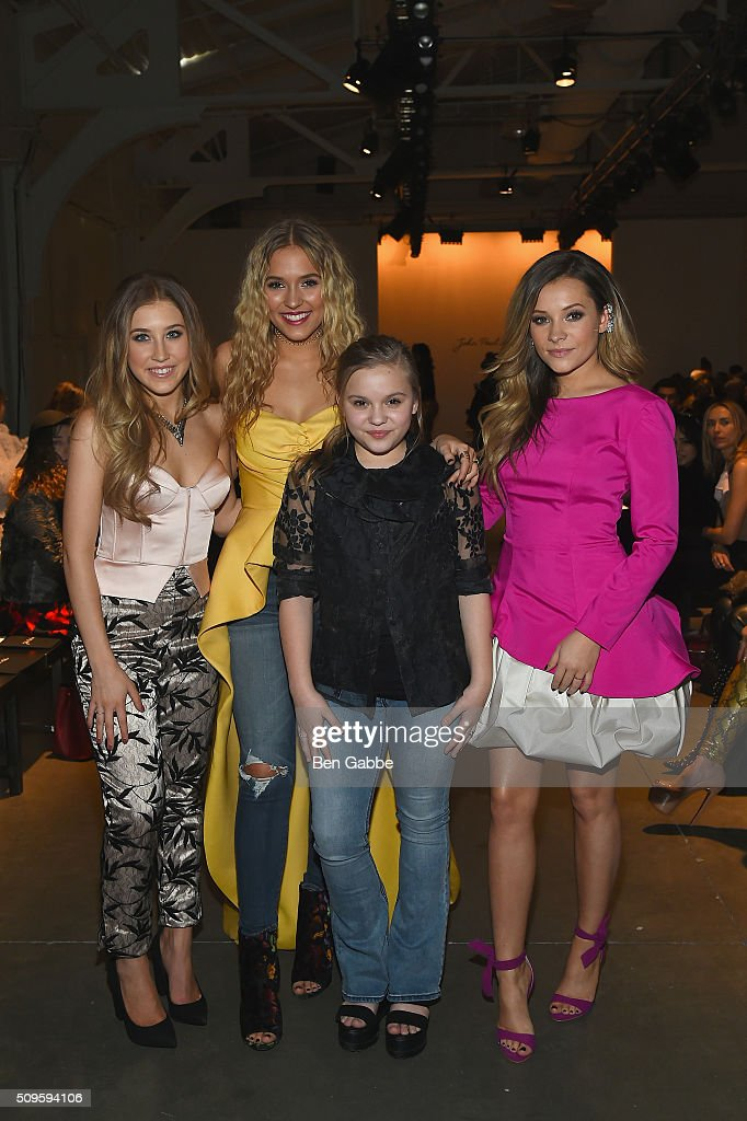 Musicians, Maddie Marlow, Lennon Stella, Maisy Stella and <a gi-track='captionPersonalityLinkClicked' href=/galleries/search?phrase=Taylor+Dye&family=editorial&specificpeople=13497922 ng-click='$event.stopPropagation()'>Taylor Dye</a> attend the John Paul Ataker show- Backstage at Pier 59 on February 11, 2016 in New York City.