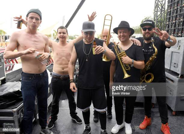 Musicians Magnus Larsson Lukas Forchhammer and Mark Falgren of Lukas Graham pose backstage at the Hangout Stage during 2017 Hangout Music Festival on...