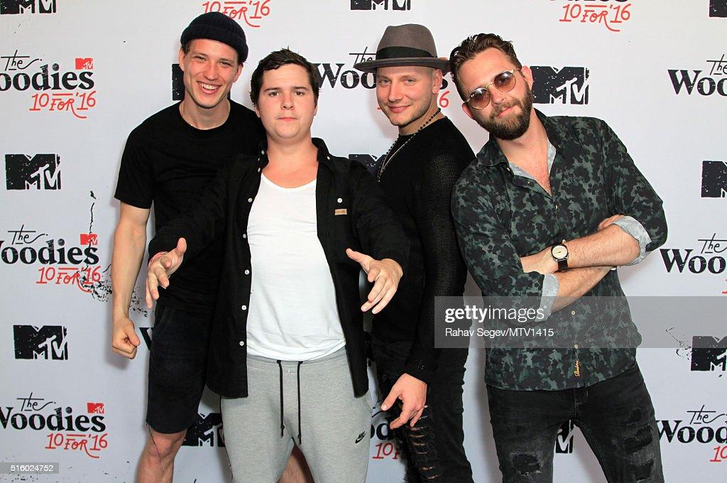 Musicians Magnus 'Magnum' Larsson, Lukas Graham Forchhammer, Mark 'Lovestick' Falgren and Kasper Daugaard of Lukas Graham attend the 2016 MTV Woodies/10 For 16 on March 16, 2016 in Austin, Texas.