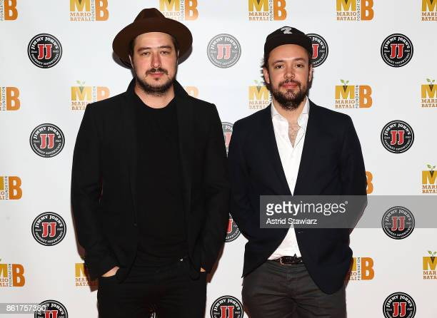 Musicians Marcus Mumford and Ben Lovett of Mumford Sons attend 6th Annual Mario Batali Foundation Honors dinner at Del Posto on October 15 2017 in...