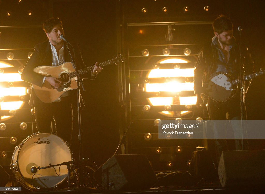 Musicians Marcus Mumford and Winston Marshall of Mumford Sons perform onstage at the 55th Annual GRAMMY Awards at Staples Center on February 10 2013...