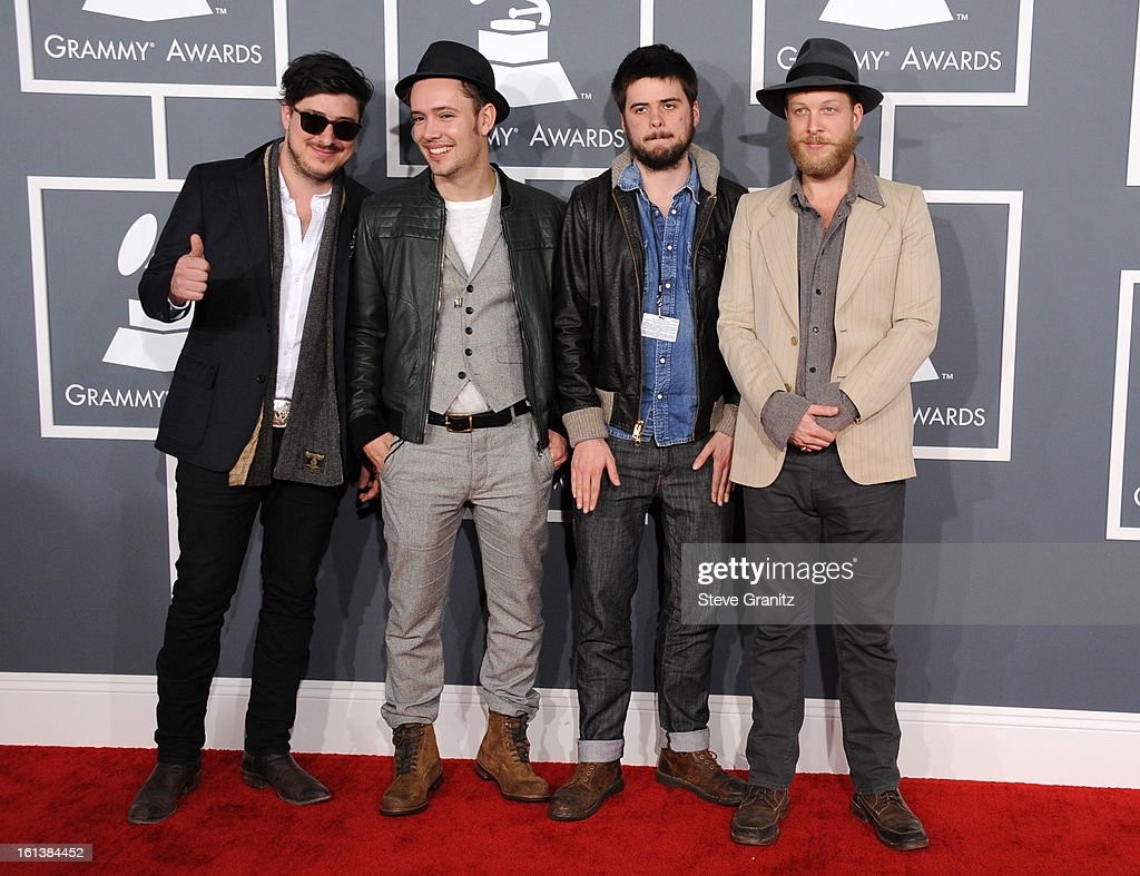 Musicians Marcus Mumford Ben Lovett 'Country' Winston Marshall and Ted Dwane of Mumford Sons attend the 55th Annual GRAMMY Awards at STAPLES Center...