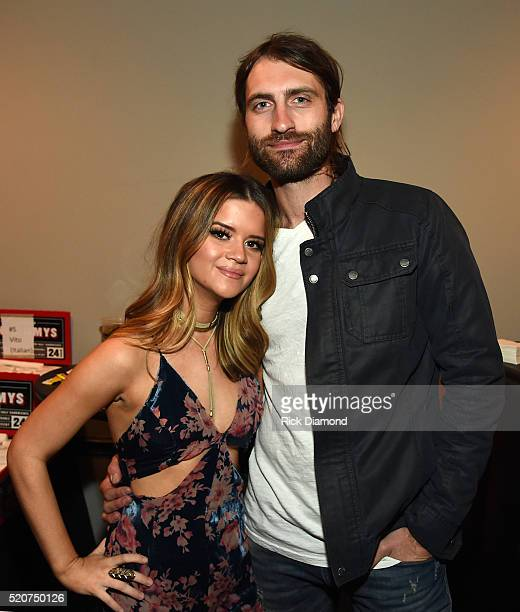 Musicians Maren Morris and Ryan Hurd attend All For The Hall at the Bridgestone Arena on April 12 2016 in Nashville Tennessee