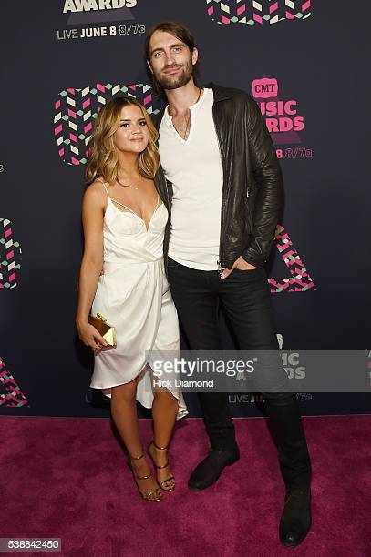 Musicians Maren Morris and Ryan Hurd attend the 2016 CMT Music awards at the Bridgestone Arena on June 8 2016 in Nashville Tennessee