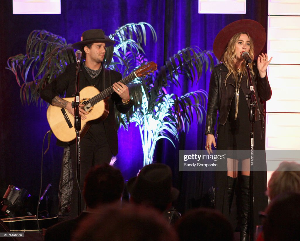 Musicians Mark Ballas and BC Jean of Alexander Jean perform onstage during BritWeek's 10th Anniversary VIP Reception Gala at Fairmont Hotel on May 1...