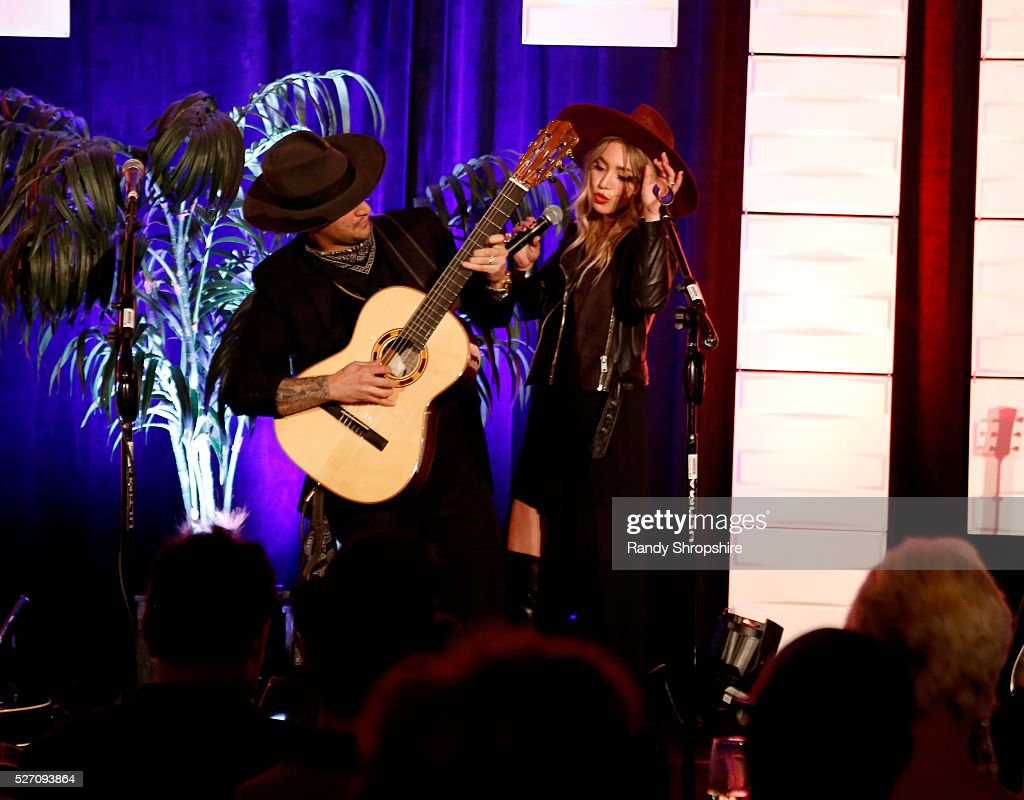 Musicians Mark Ballas (L) and BC Jean of Alexander Jean perform onstage during BritWeek's 10th Anniversary VIP Reception & Gala at Fairmont Hotel on May 1, 2016 in Los Angeles, California.