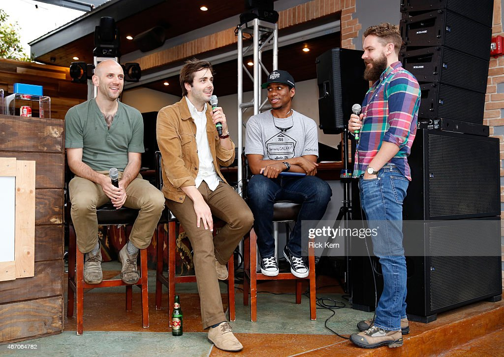 Musicians Mark Barry and Ben Schneider of Lord Huron speak onstage during the Lord Huron album listening session at the Samsung Studio at SXSW 2015...