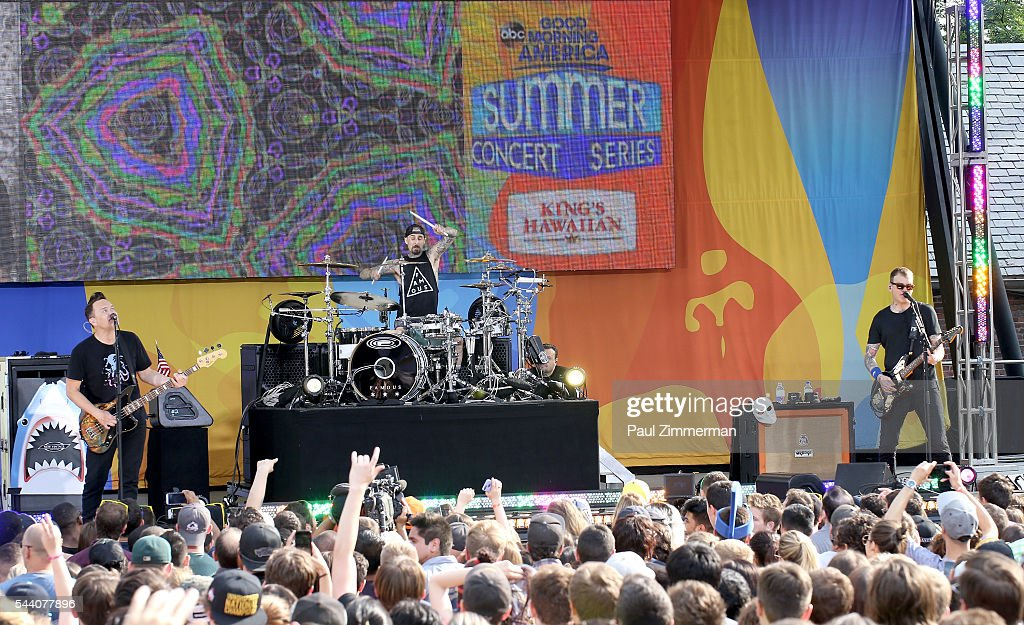 Musicians Mark Hoppus, Travis Barker and Matt Skiba of band Blink 182 perform on ABC's 'Good Morning America' at SummerStage at Rumsey Playfield, Central Park on July 1, 2016 in New York City.