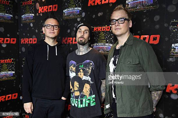 Musicians Mark Hoppus Travis Barker and Matt Skiba of the band Blink182 attend 1067 KROQ Almost Acoustic Christmas 2016 Night 1 at The Forum on...