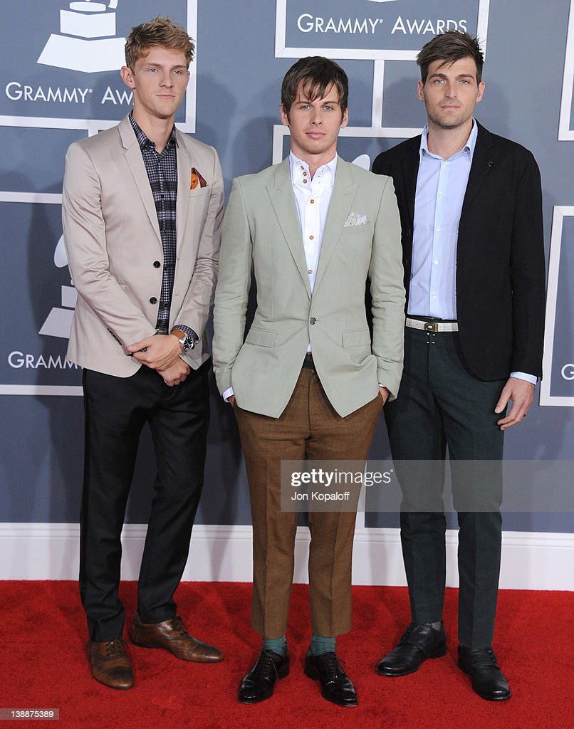 Musicians Mark Pontius, Mark Derek Foster, and Cubbie Fink of the band Foster the People arrive at 54th Annual GRAMMY Awards held the at Staples Center on February 12, 2012 in Los Angeles, California.