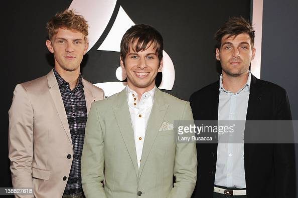 Musicians Mark Pontius Mark Foster and Cubbie Fink arrive at the 54th Annual GRAMMY Awards held at Staples Center on February 12 2012 in Los Angeles...