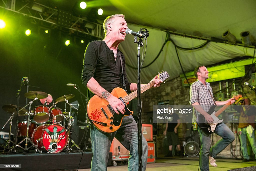Musicians Mark Reznicek, Vaden Todd Lewis, and Clark Vogeler of the Toadies perform in concert during the Rubberneck 20th Anniversary Tour at Stubb's Bar-B-Q on June 14, 2014 in Austin, Texas.