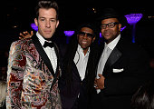 Musicians Mark Ronson Nile Rodgers and music producer/songwriter Jimmy Jam attend the PreGRAMMY Gala and Salute to Industry Icons honoring Martin...