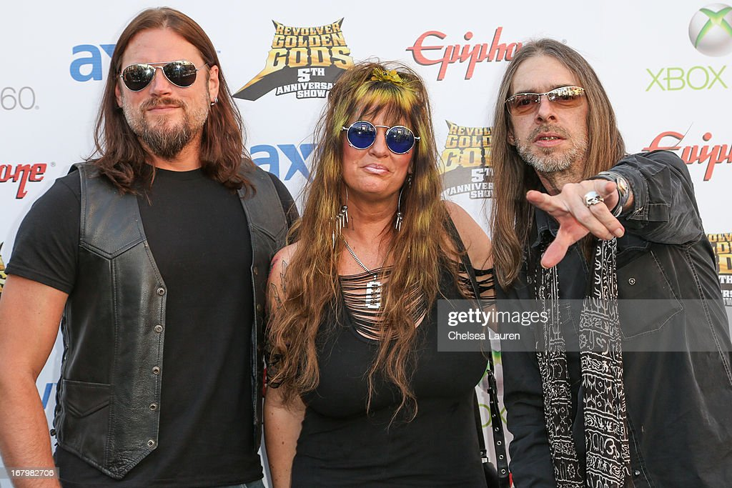 Musicians Mark Zavon, Rita Haney and Rex Brown arrive at the 5th Annual Revolver Golden Gods awards show at Club Nokia on May 2, 2013 in Los Angeles, California.