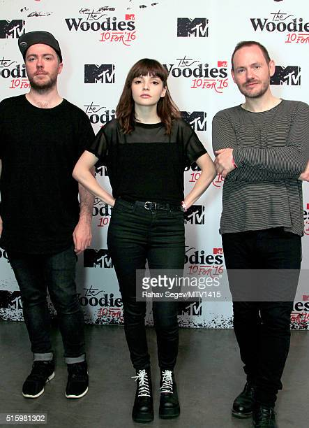 Musicians Martin Doherty Lauren Mayberry and Iain Cook of Chvrches attend the 2016 MTV Woodies/10 For 16 on March 16 2016 in Austin Texas