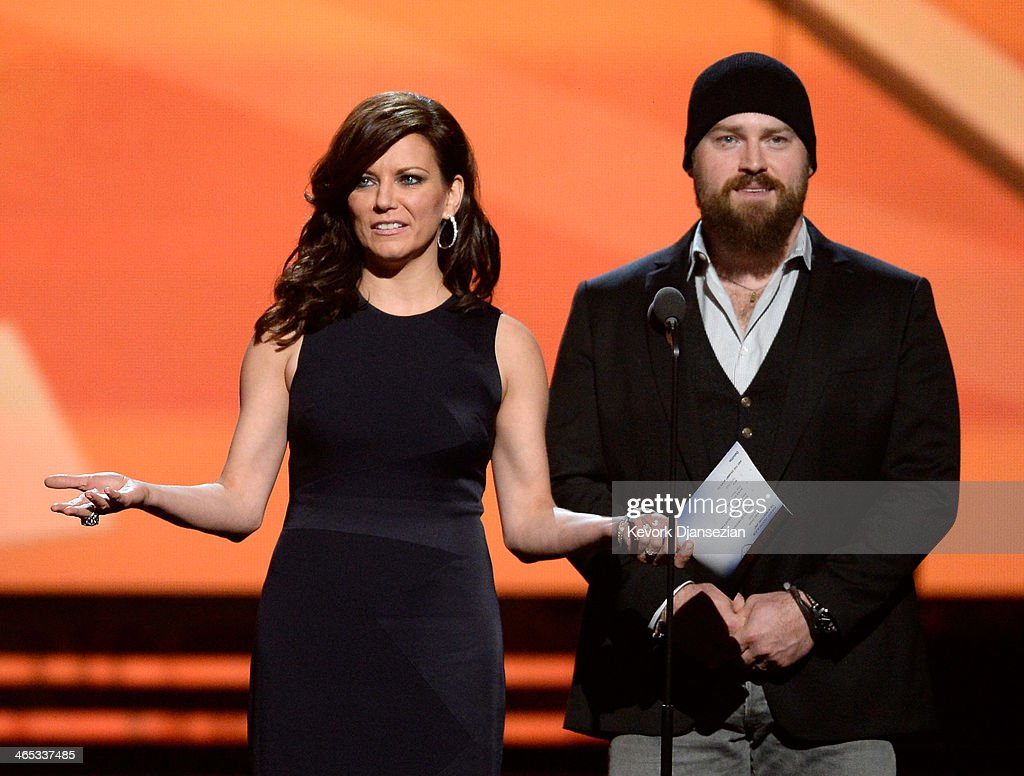 Musicians Martina McBride and Zac Brown speak onstage during the 56th GRAMMY Awards at Staples Center on January 26, 2014 in Los Angeles, California.