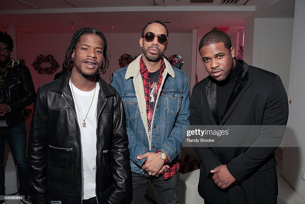 Musicians Marty Baller Ryan Leslie and A$AP Ferg pose backstage at A$AP Ferg performs at Fancy's The Run Up on December 7 2015 in New York City