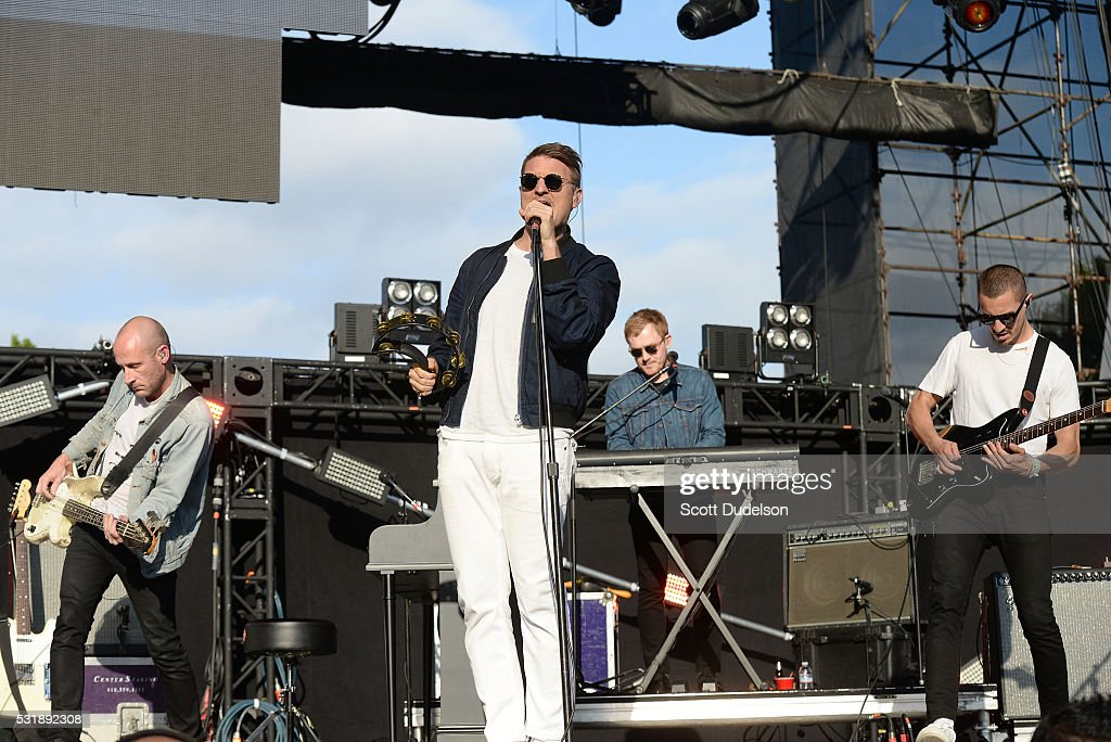 Musicians Matt Maust Nathan Willett Matthew Schwartz and David Quon of the band Cold War Kids perform onstage during KROQ's Weenie Roast at Irvine...