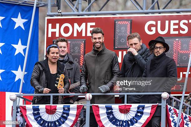 Musicians Matt Sanchez Zac Barnett James Adam Shelley and Dave Rublin of American Authors attend the 88th Annual Macys Thanksgiving Day Parade on...