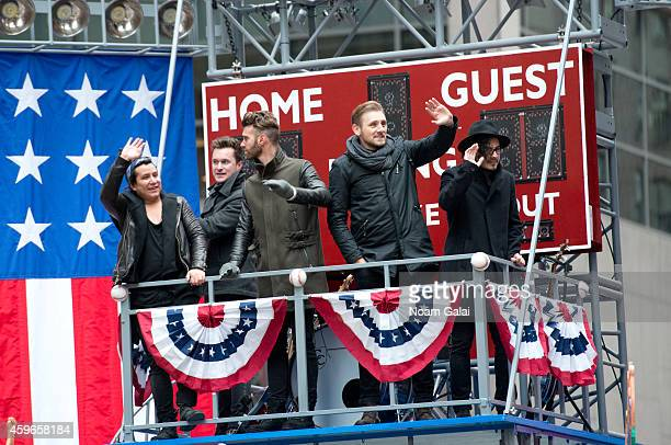 Musicians Matt Sanchez Zac Barnett James Adam Shelley and Dave Rublin of American Authors attend the 88th Annual Macys Thanksgiving Day Parade at on...