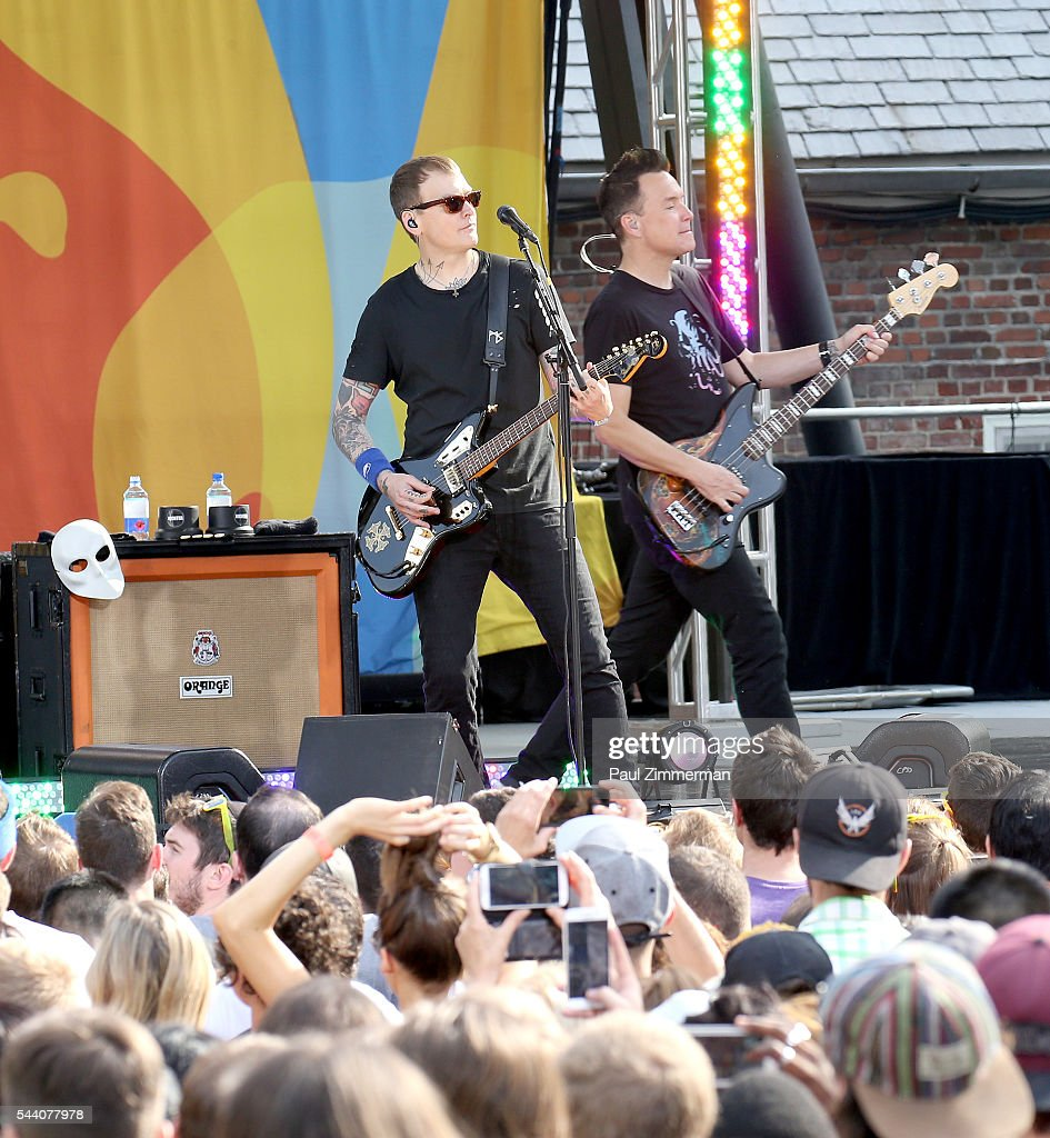 Musicians Matt Skiba (L) and Mark Hoppus of band Blink 182 perform On ABC's 'Good Morning America' at SummerStage at Rumsey Playfield, Central Park on July 1, 2016 in New York City.