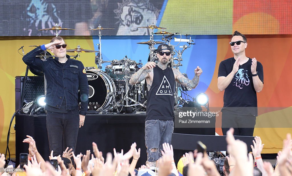 Musicians Matt Skiba, Travis Barker and Mark Hoppus of band Blink-182 perform On ABC's 'Good Morning America' at SummerStage at Rumsey Playfield, Central Park on July 1, 2016 in New York City.