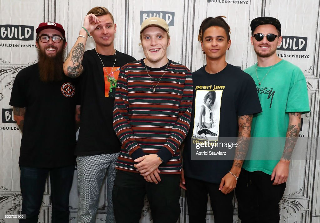 Musicians Matt West, Fil Thorpe-Evans, Ben Barlow, Dani Washington and Sam Bowden from the pop punk band Neck Deep discuss their album 'The Peace and The Panic' at Build Studio on August 17, 2017 in New York City.