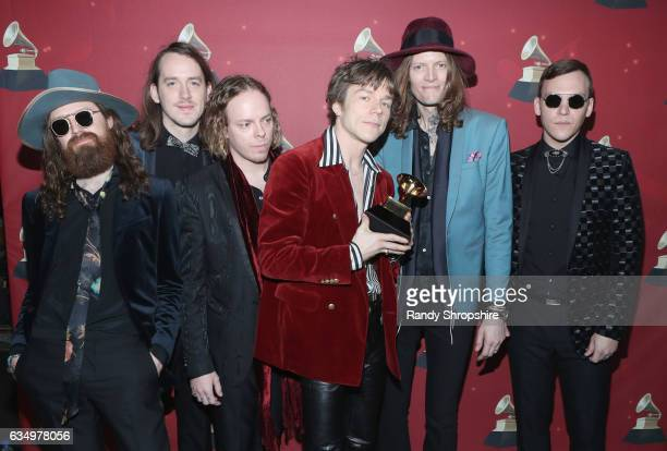 Musicians Matthan Minster Nick BockrathJared Champion Matt Shultz Daniel Tichenor and Brad Shultz of Cage the Elephant pose with the Best Rock Album...